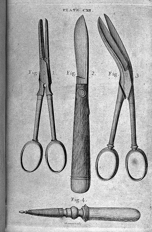 Kirurgiske hjelpemidler fra gammelt av - Foto WIkimedia Commons